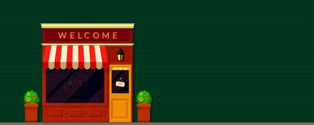 Shop, storefront facade background in retro style. Local business. Cafe, restaurants, bakery building. Illustration for online store website header or banner. Old European city street. Banco de Imagens