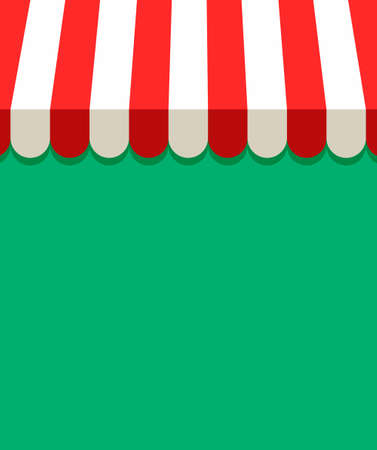 Awning and canopy background. Red and white striped awning for store, cafe, shop, market or restaurants. Isolated. Flat illustration for web and print with copy space