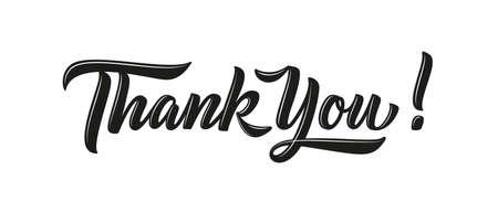 Dankeschön-Karte, Vektortext und Wort. Dankesbrief und Thanksgiving-Typografie. Kalligraphie im Vintage-Stil für Poster oder Banner, Notizen oder Header. Retro-Etikett. Illustration.