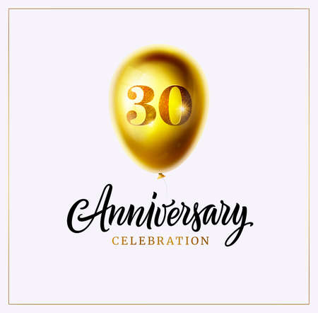 30-year anniversary card. Gold balloon and anniversary text isolated on white. 30th birthday celebrating. Logo, banner, certificate and party decoration. Jubilee vector illustration. Object isolated. Ilustração
