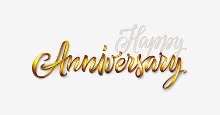 Happy anniversary text isolated on white background. Vintage golden font, 3d lettering for logo, banner, invitation, greeting card, prints or poster. Hand drawn inscription or calligraphy