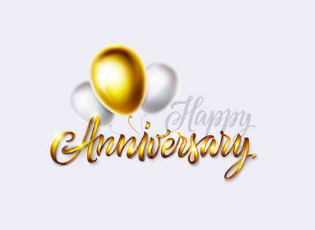 Happy anniversary card. Vintage golden text and glossy gold and white color balloons. Isolated on white background. Vector banner, poster or greeting card for birthday or wedding celebration