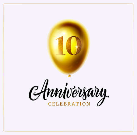 10 years anniversary celebration vector illustration. 10th year birthday invitation or logo. Realistic 3d golden balloon icon with number and text isolated. Poster for anniversary celebration party