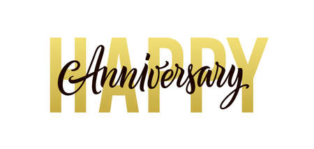 Happy anniversary. Gold, black and white greeting card design. Vector happy anniversary text isolated on white background for banner, background, poster, backdrop, and invitation. Holiday illustration. Ilustração