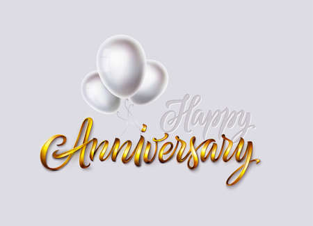Happy anniversary card. Gold text and glossy white color balloons bunch isolated on white background. Vector banner, poster, greeting card, print for birthday or wedding celebration Ilustração