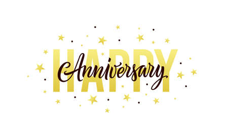 Happy anniversary. Gold, white, black design template for birthday or wedding invitation, party decoration. Greeting card, banner with happy anniversary text, stars and confetti. Vector illustration. Ilustração