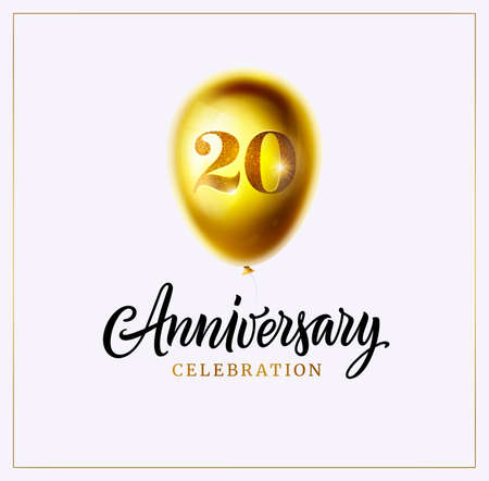 20 anniversary celebration logo or background. Jubilee. Gold balloon with number twenty and lettering text isolated on white. Vector. Perfect for anniversary logo, invitation, banner, card or poster Ilustração