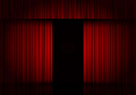 Curtain red vector isolated. Open drapery. Theater scene, opera, concert or cinema. 3d object. Curtain stage. Vector background.