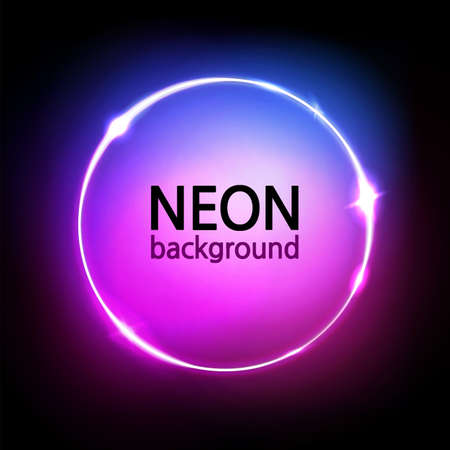 Neon circle background. Glowing round frame. Neon lights in pink, blue, purple vibrant colors. Abstract dark sign, wallpaper, and banner. Vector illustration.