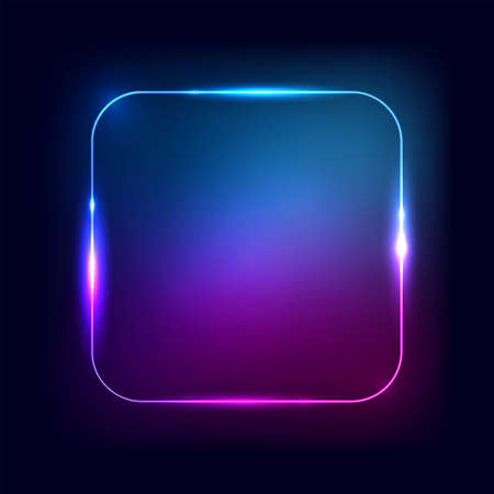 Neon frame. Rectangle or square shape glow border on the black background. Vector illustration for neon glowing banner and sign. Abstract dark design element.