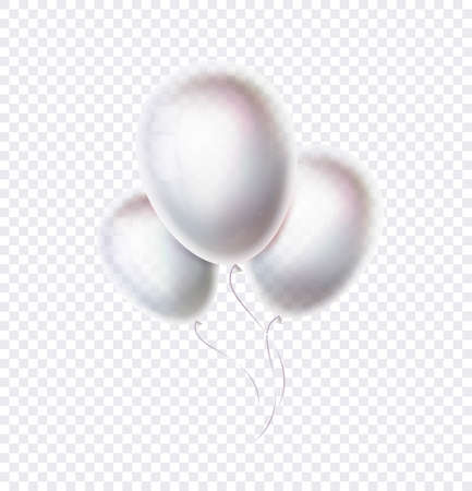 Transparent balloons vector objects isolated on background. 3d white baloons. Birthday or carnival party decoration or celebrate banner. Vector illustration.