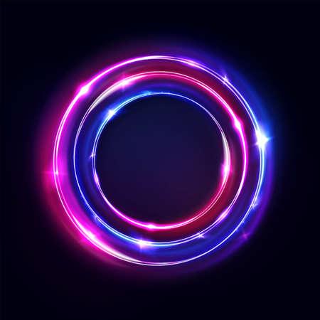 Cercle abstrait, néons lumineux, portail rond. Vecteur. Anneaux lumineux bleus et violets roses. Cadre lumineux circulaire, ultraviolet.