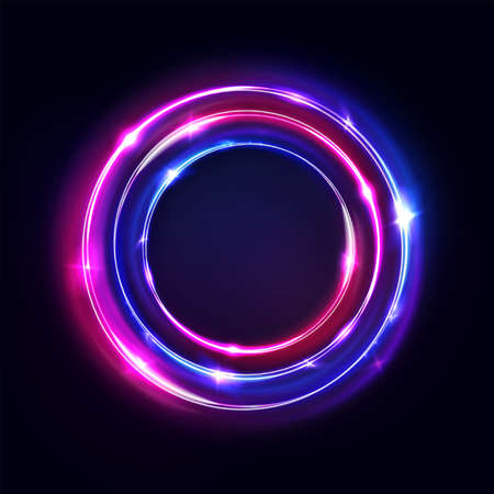 Circle abstract background, glow neon lights, round portal. Vector. Pink blue and purple glowing rings.Circular light frame, ultraviolet.
