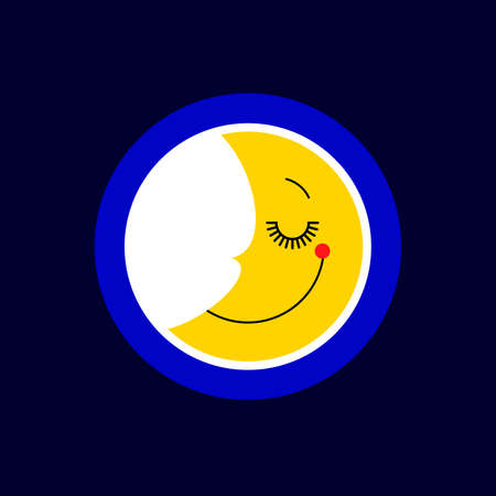 Sleep moon logo isolated vector. Icon and symbol for baby. Good night concept for kids. Cute smile sleeping crescent moon logotype design. Sign, sticker or print. Ilustração