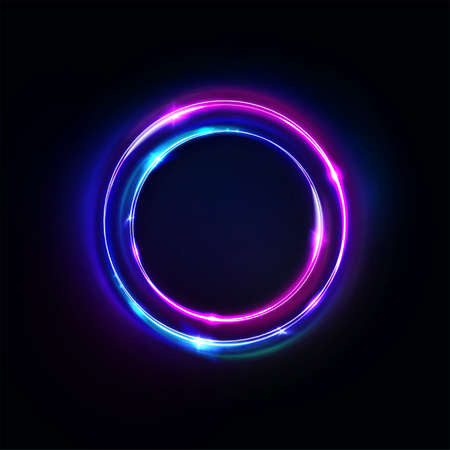 Neon circle sign vector. Light and glow round frame isolated on black background. Purple, violet, blue and pink electric bright 3d circular portal, laser, neon lamp bulb banner. Ilustração