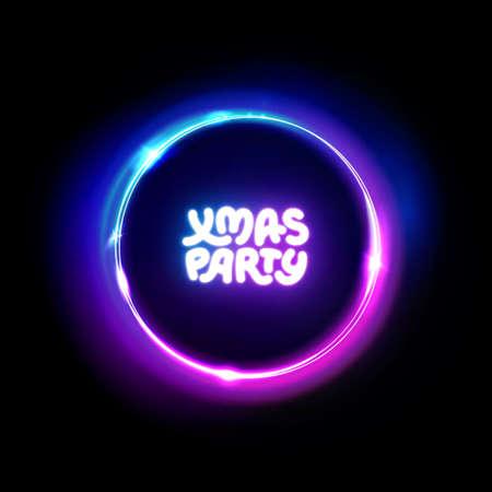 Xmas party neon sign. Light vector abstract background. Christmas party logo for night club, music club, bar, pab, casino. Disco. Vector illustration. Ilustração