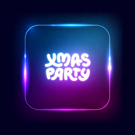 Xmas party neon square sign. Christmas lights border, garland, frame. Vector abstract background. Party logo for night club, music club, bar, pub, casino. Vector illustration for Noel, Navidad, Xmas