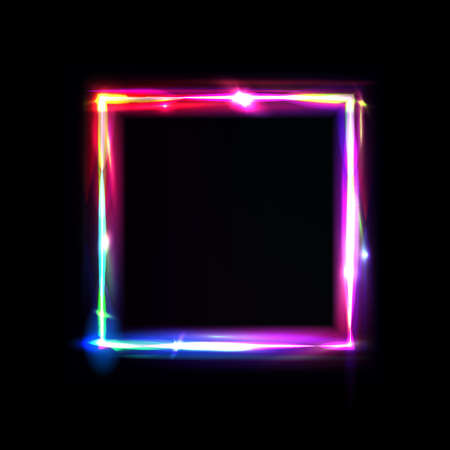 Neon frame with glow, sign and light background. Square. Night club signboard with empty space for logo or text. Vector illustration, poster, banner for night party. Glitch and neon light effect.