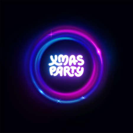 Xmas party neon circle sign. Christmas lights border, garland, frame. Vector abstract background. Party logo for night club, music club, bar, pub, casino. Vector illustration for Noel, Navidad, Xmas.
