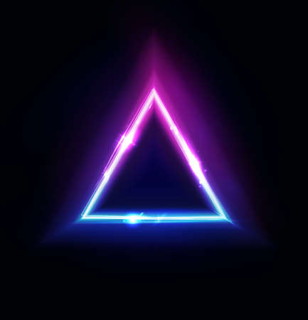 Neon triangle frame. Pyramid lights sign. Vector abstract neon background, tunnel or portal. Geometric glow outline triangle shape or laser glowing lines. Abstract background with space for your text.