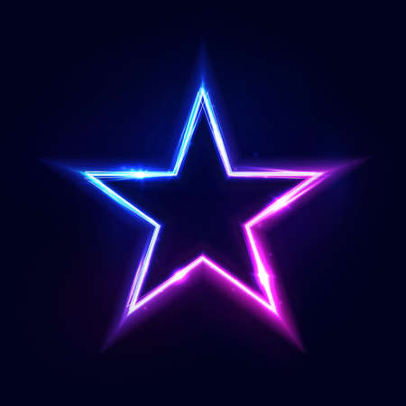 Neon star frame or neon lights sign. Vector abstract background, tunnel, portal. Geometric glow outline star shape, laser glowing lines. Abstract background with space for your text.