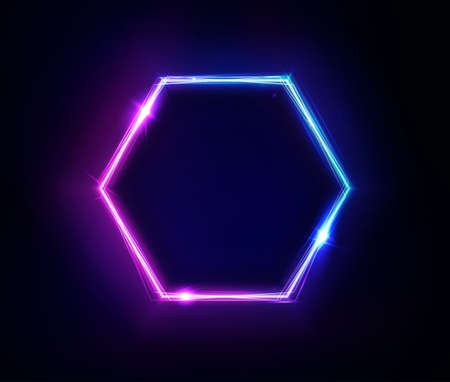 Neon hexagon frame or neon lights sign. Vector abstract background, tunnel, portal. Geometric glow outline hexagon shape or laser glowing lines. Abstract background with space for your text