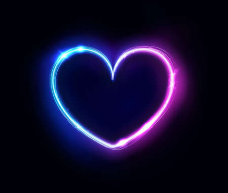 Neon heart sign or frame. Happy Valentine neon lights heart design element. Vector abstract background. Geometric glow outline shape or laser glowing lines. Abstract background with place for text Ilustração