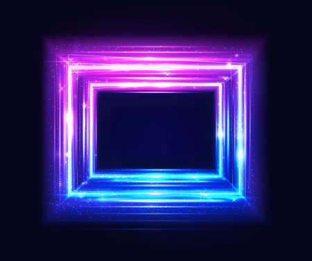Square frame, glow light neon box, vector abstract background with light glowing effect. Laser square border isolated on black background. Ultraviolet rave art, design, and Illustration Ilustração