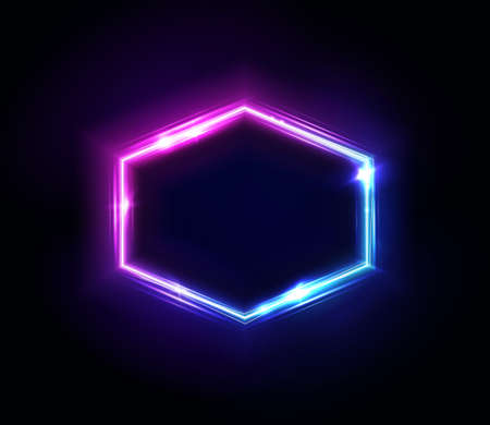 Neon hexagon frame or neon lights sign. Vector abstract background, tunnel, portal. Geometric glow outline hexagon shape or laser glowing lines. Abstract background with space for your text.