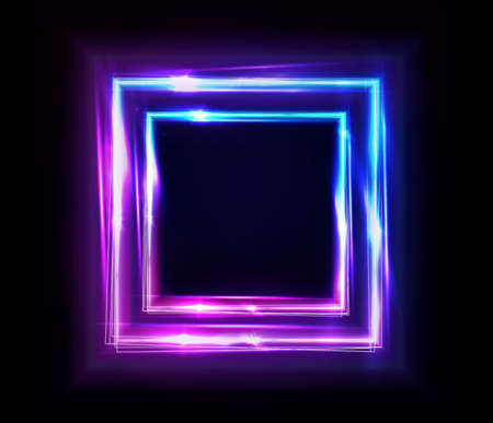 Neon rectangle frame or neon lights square sign. Vector abstract background, tunnel, portal. Geometric glow outline square shape or laser glowing lines. Abstract background or banner