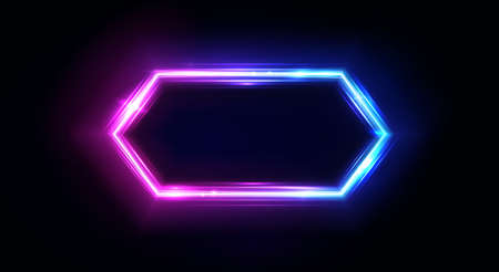 Neon hexagon frame or neon lights horizontal sign. Vector abstract background, tunnel, portal. Geometric glow outline hexagon shape, laser glowing lines. Abstract background with space for your text Stockfoto - 140765945