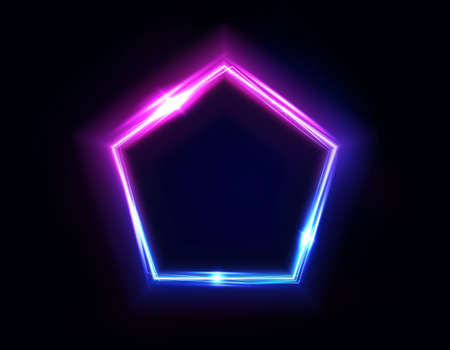 Neon pentagon frame or neon lights sign. Vector abstract background, tunnel, portal. Geometric glow outline pentagon shape or laser glowing lines. Abstract background with space for your text