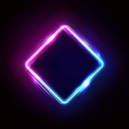 Neon rhombus frame or neon lights sign. Retrowave vector abstract background, tunnel, portal. Geometric glow outline rhombus shape or laser glowing lines. Background with space for your text. Ilustração