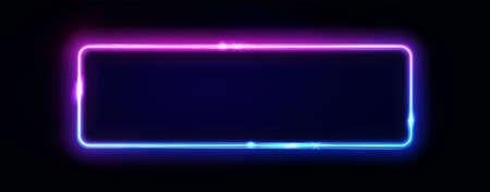 Cadre rectangle néon ou enseigne horizontale de néons. Abstrait de vecteur, tunnel, portail. Forme de contour de lueur géométrique ou lignes lumineuses laser. Abstrait avec un espace pour votre texte