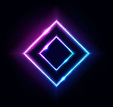 Neon rhombus frame or neon lights square sign. Retrowave vector abstract background, tunnel, portal. Geometric glow outline rhombus shape or laser glowing lines. Background with space for your text. Ilustração