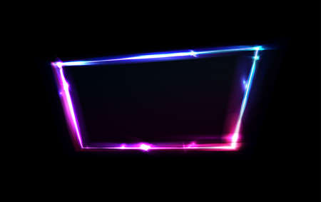 Neon border or frame. Lights sign. Vector abstract neon background for signboard or billboard. Geometric glow outline shape or laser glowing lines. Abstract background with space or text. Ilustração