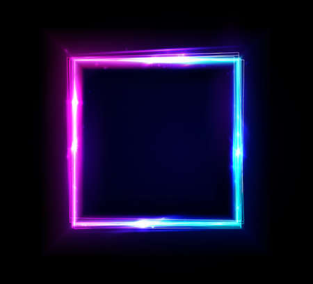 Neon rectangle frame or neon lights square sign. Vector abstract background, tunnel, portal. Geometric glow outline square shape or laser glowing lines. Abstract background with space for your text Ilustração