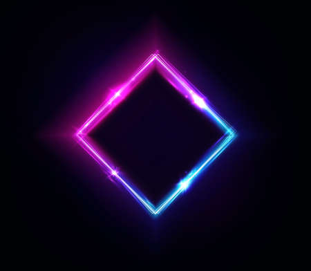 Neon rhombus frame or neon lights square sign. Retrowave vector abstract background, tunnel, portal. Geometric glow outline rhombus shape or laser glowing lines. Background with space for your text Ilustração