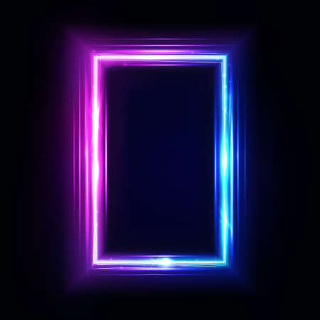 Neon vertical rectangle frame, border. Neon lights sign. Vector abstract background, tunnel, portal. Geometric glow outline rectangular shape, laser glowing lines. Abstract background. Ilustração