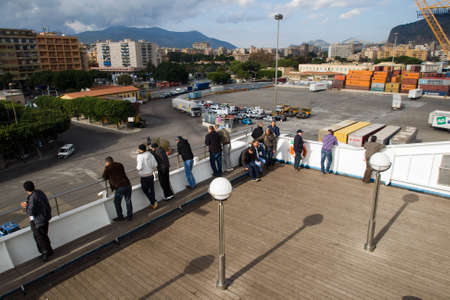 palermo   italy: On Ferry in Palermo, Italy Editorial