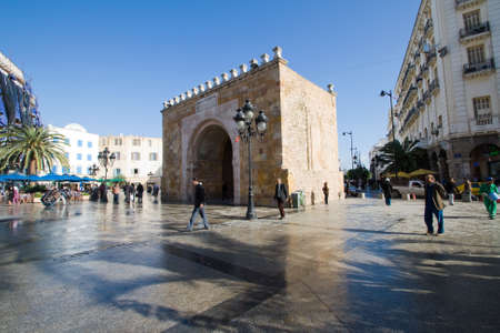 Bab el Bhar  Porte de  France or Sea Gate  in Tunis, Tunisia Editorial