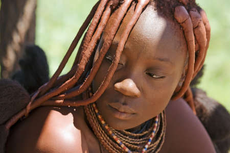 Portrait of Himba Woman Stock Photo