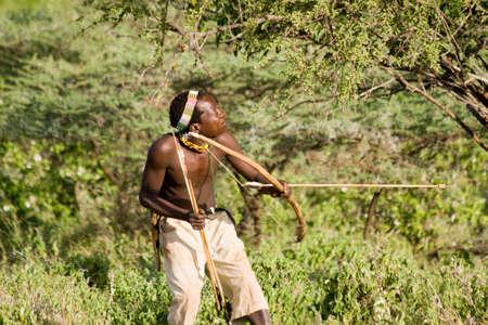 LAKE EYASI, TANZANIA - FEBRUARY 18  An unidentified Hazabe bushman with bow and arrow during hunting on February 18, 2013 in Tanzania  Hazabe tribe threatened by extinction