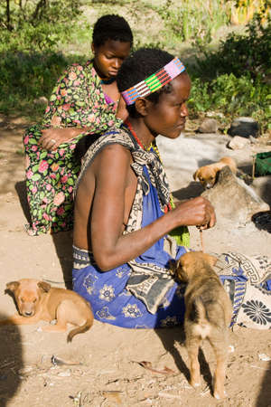 gatherer: LAKE EYASI, TANZANIA - FEBRUARY 18  An unidentified Hazabe woman sits together with other woman and future hunting dogs on February 18, 2013 in Tanzania  Hazabe tribe threatened by extinction  Editorial