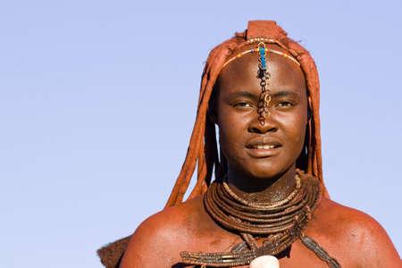 Portrait of a native Himba woman, Namibia Stock Photo