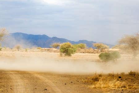 whirlwind: Cyclone in Maasai area next to Lake Magadi, Kenya