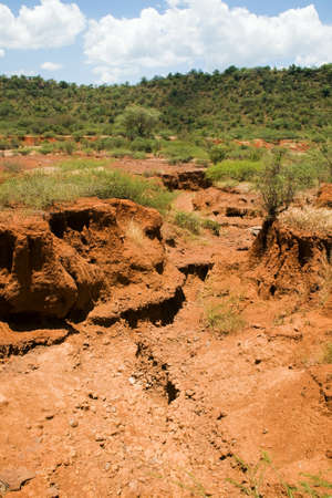desertification: Soil erosion caused by heavy rainfalls in central Kenya Stock Photo