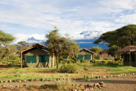 View at Mount Kilimanjaro from Campsite Stock Photo