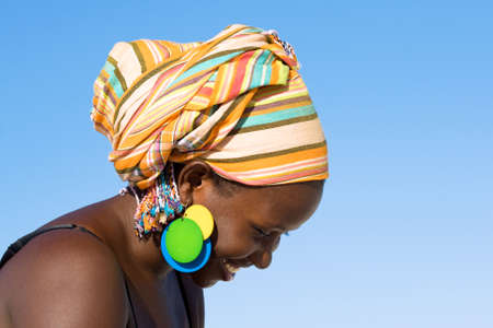 Portrait of african woman with scarf