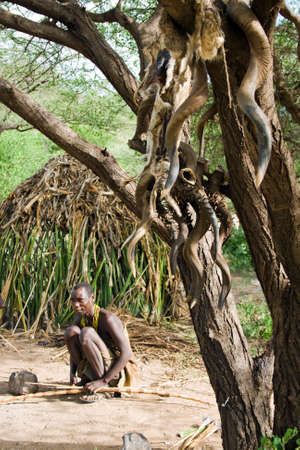 hunter gatherer: LAKE EYASI, TANZANIA - FEBRUARY 18: An unidentified Hadzabe bushman sits next to the tree in front of his hut.  Editorial